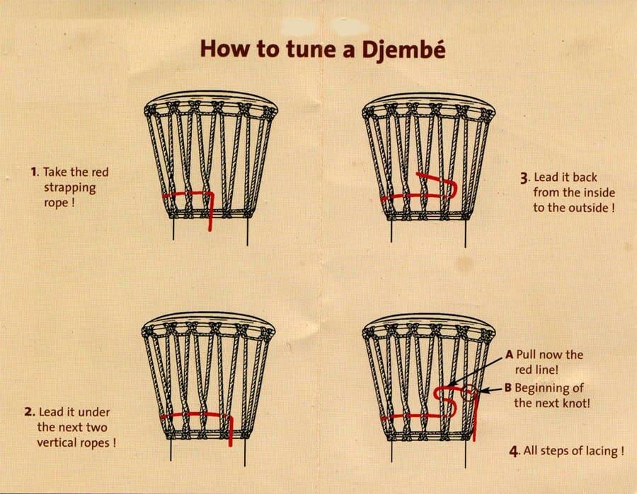 hoe stem je een djembe - how to tune a djembé