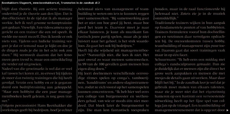 FEM de week pers artikel over Hans Beenhakkers Slagwerk