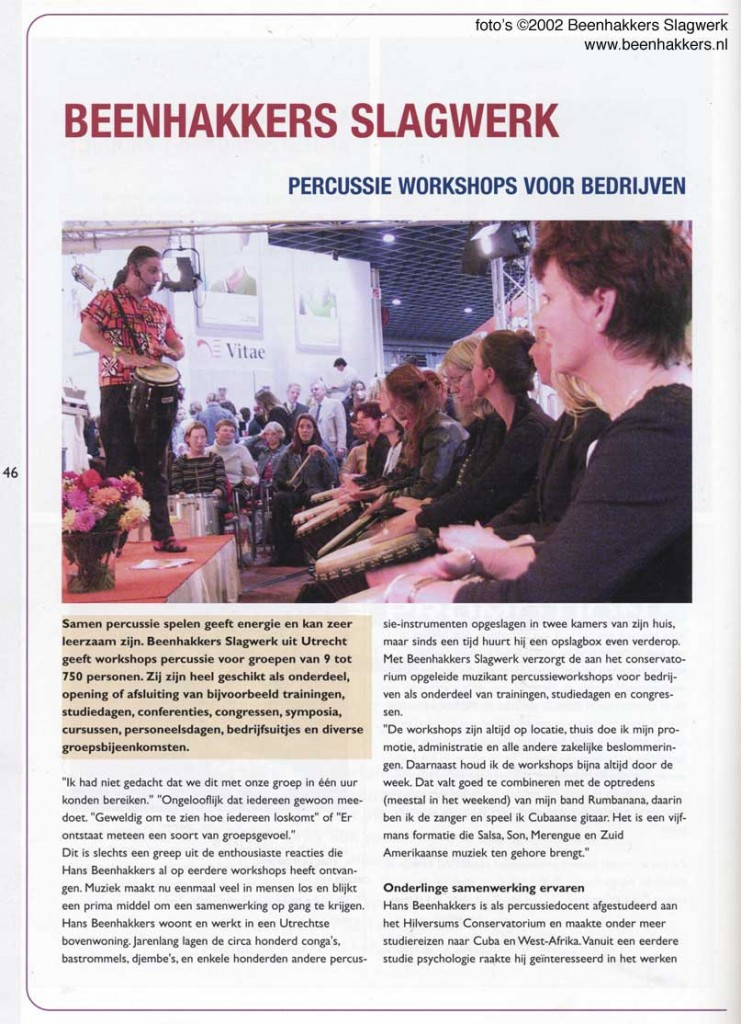 Spotlight Magazine over Workshops en Energizers van Beenhakkers Slagwerk in de pers 1