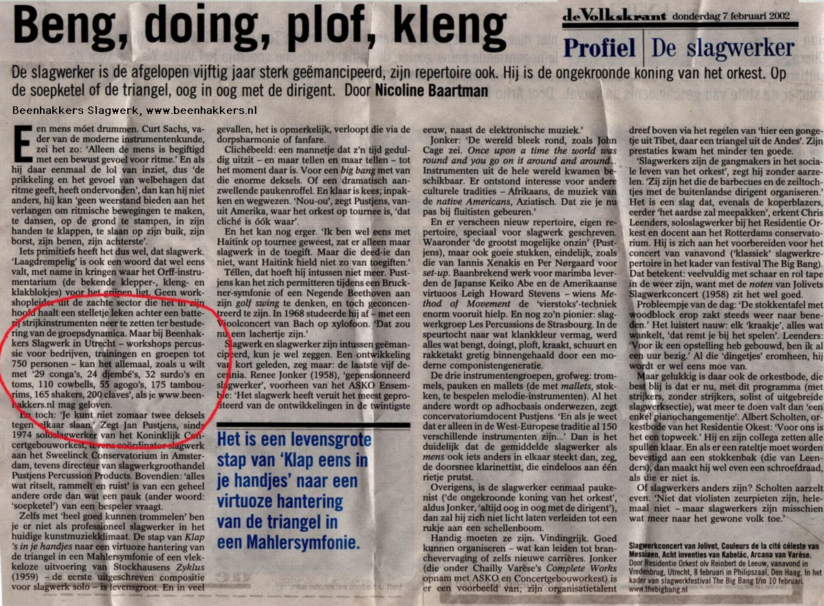 Pers Artikel Volkskrant met verwijzing naar Hans Beenhakkers Slagwerk