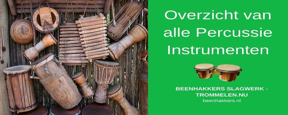overzicht van alle percussie instrumenten