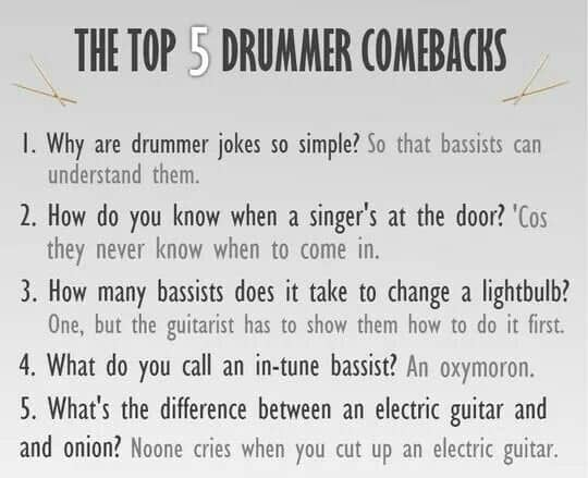 drummer comeback jokes
