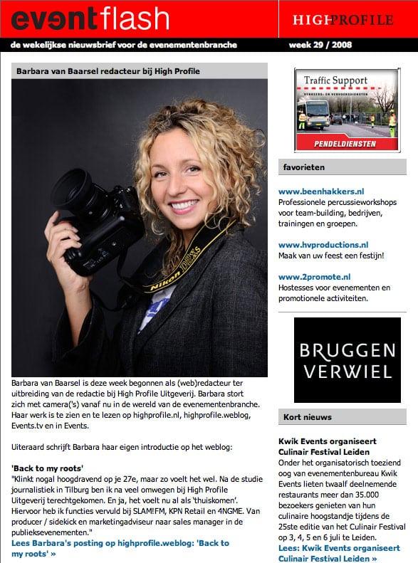Favorietvermelding in de Eventflash van Beenhakkers Slagwerk - Pers Artikel