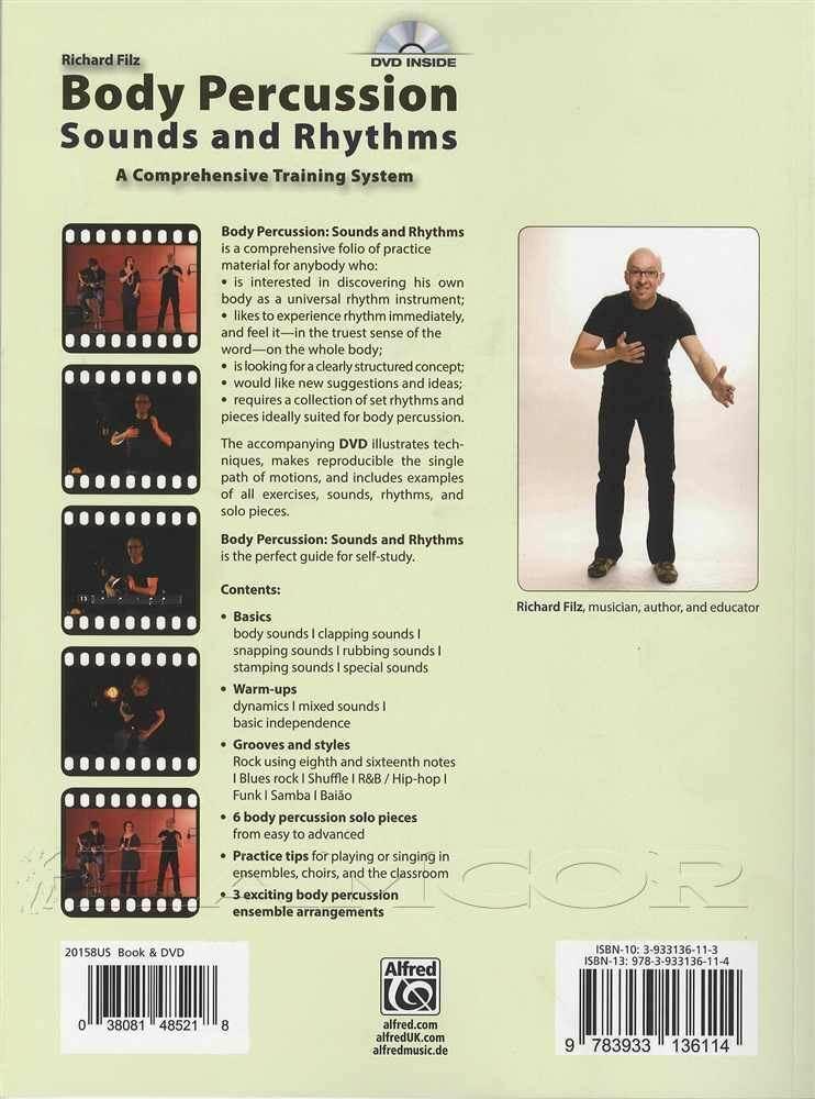 Achterkant van het boek over body percussie: body percussion sounds and rhythms